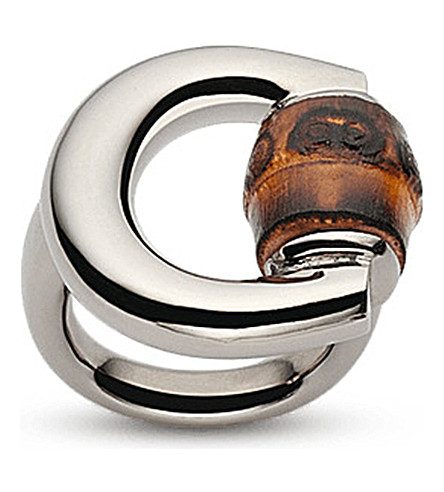 GUCCI Horsebit bamboo-detail sterling silver ring (Silver