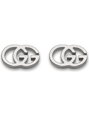 GUCCI GG 18ct white-gold tissue stud earrings