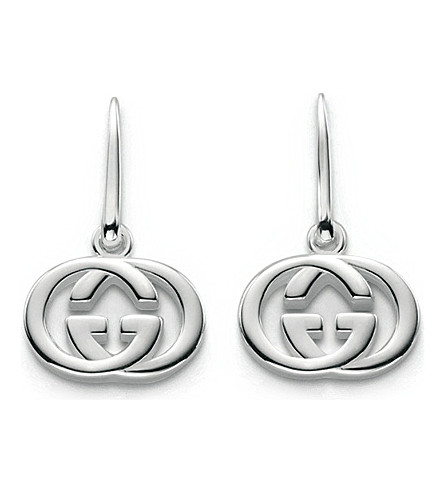 GUCCI GG 18ct silver drop earrings (Silver