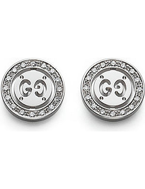 GUCCI Icon Twirl 18ct white-gold and diamond stud earrings