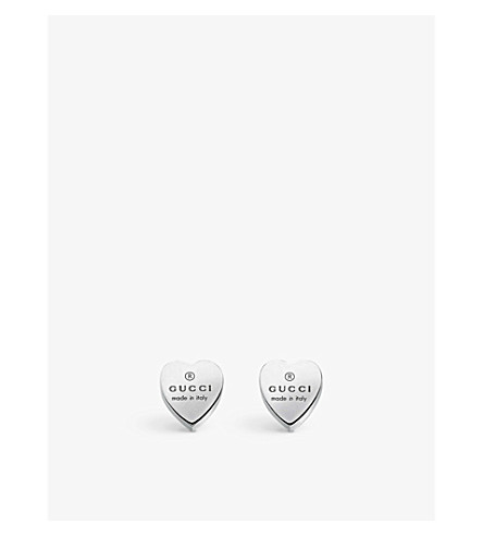 GUCCI Heart-motif sterling silver stud earrings (Silver