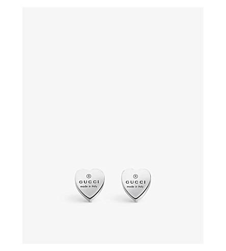 GUCCI Trademark earrings heart-motif sterling silver stud earrings (Silver