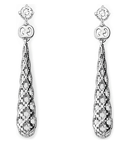 GUCCI Diamantissima 18ct white-gold and diamond drop earrings (Yellow+gold