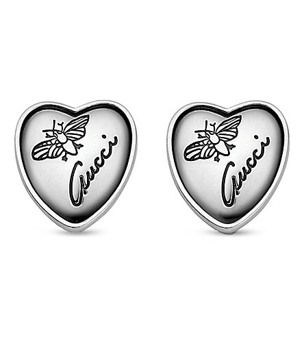 GUCCI Heart-shaped sterling silver stud earrings (Silver