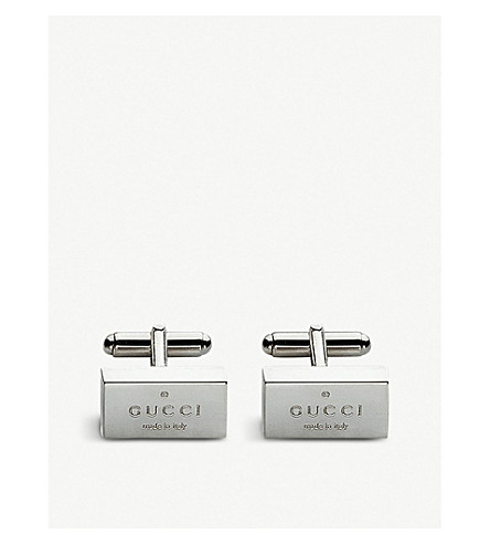 GUCCI Trademark polished silver cufflinks (Silver