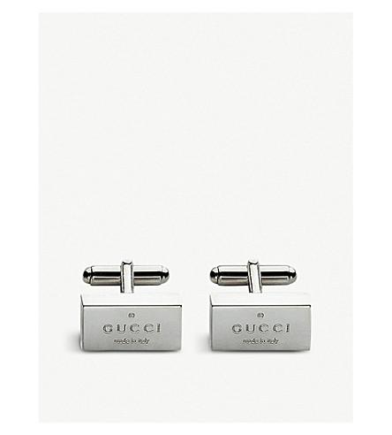 GUCCI 商标抛光银袖扣 (银