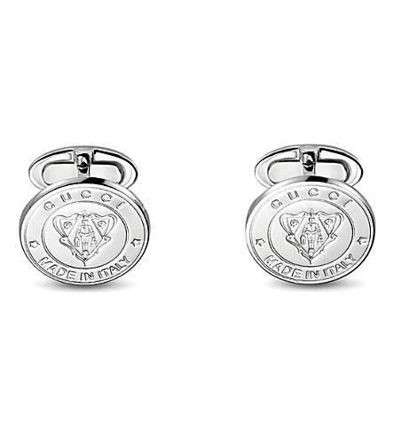 GUCCI Crest polished silver cufflinks (Silver