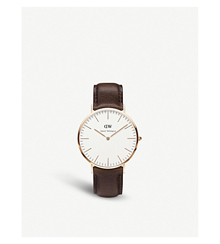 DANIEL WELLINGTON 0109DW Bristol rose gold-plated and leather watch