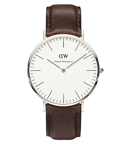 DANIEL WELLINGTON 0209DW Bristol stainless steel and leather strap