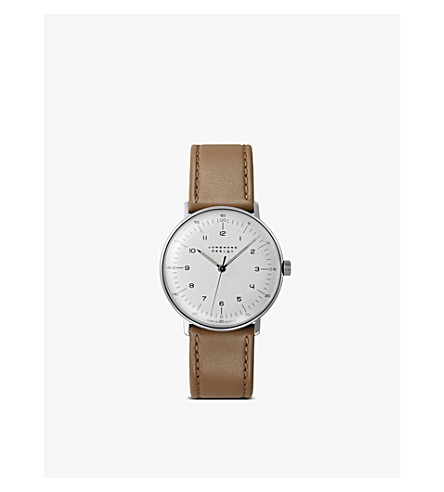 JUNGHANS 027/3701.00 max bill stainless steel and leather watch (Silver