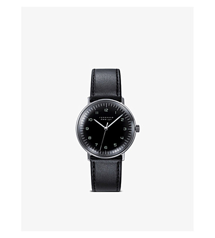 JUNGHANS 027/3702.00 Max Bill stainless steel and leather watch (Black