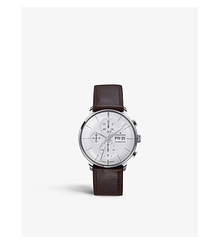 JUNGHANS 027/4120.01 meister stainless steel and leather chronoscope watch (Silver