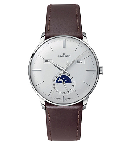 JUNGHANS 027/4200.01 meister stainless steel and leather calendar watch (Silver