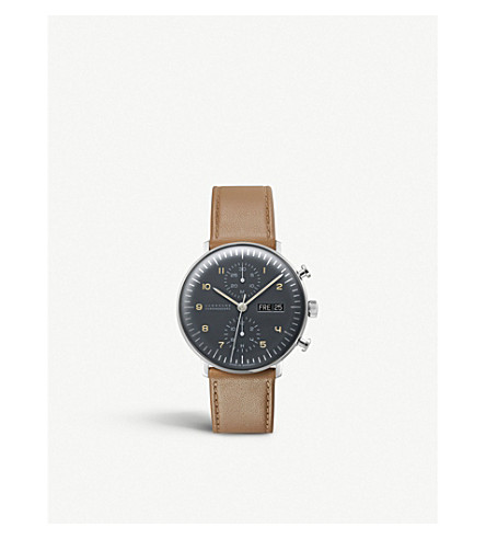 JUNGHANS 027/4501.01 max bill chronoscope stainless steel and leather watch (Grey