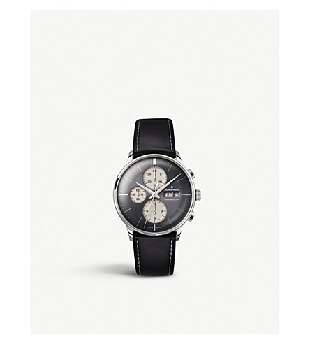 JUNGHANS 027/4525.01 meister chronoscope stainless steel and leather watch (Grey
