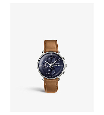 JUNGHANS 027/4526.01 Meister Chronoscope stainless steel and leather watch (Blue