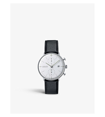 JUNGHANS 027/4600.00 max bill chronoscope stainless steel and leather watch (Silver
