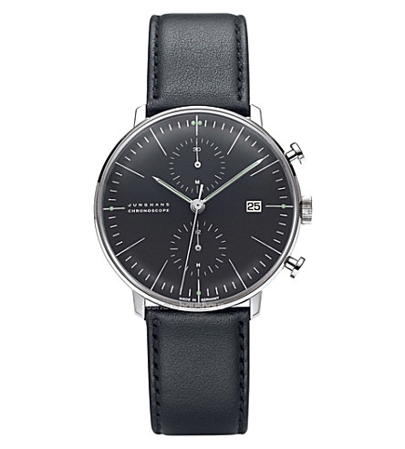 JUNGHANS 027/4601.00 max bill chronoscope stainless steel and leather watch (Black