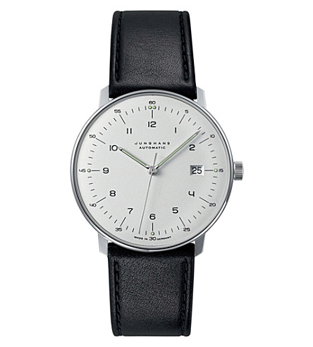 JUNGHANS 027/4700.00 max bill automatic steel and leather watch (Silver