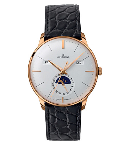 JUNGHANS 027/7203.01 meister leather and gold-plated calendar watch (Silver