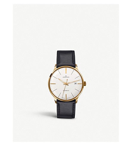 JUNGHANS 027/7312.00 meister classic leather and gold-plated watch (Silver