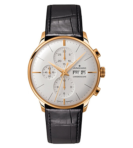 JUNGHANS 027/7323.01 meister chronoscope leather and gold-plated watch (Silver