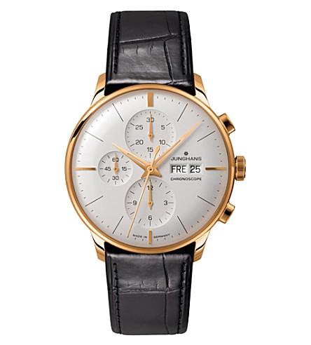 JUNGHANS 027/7323.01 尖兵 chronoscope 皮革和镀金手表 (银色