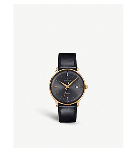 JUNGHANS 027/7513.00 meister classic leather and gold-plated watch (Black