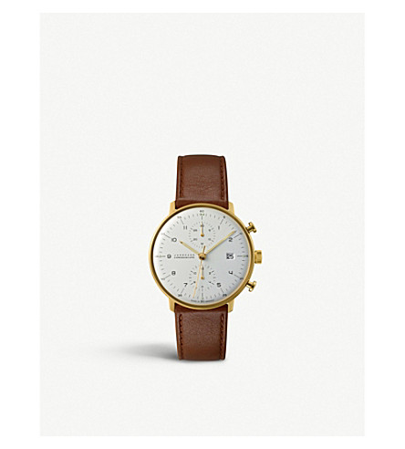 JUNGHANS 027/7800.00 最大比尔不锈钢和皮革 chronoscope 手表 (银色