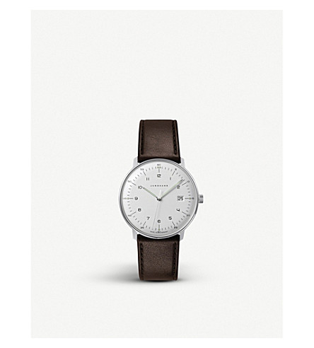 JUNGHANS 041/4461.00 Max Bill stainless steel and leather quartz watch (Silver