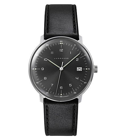 JUNGHANS 041/4462.00 Max Bill stainless steel and leather quartz watch (Black