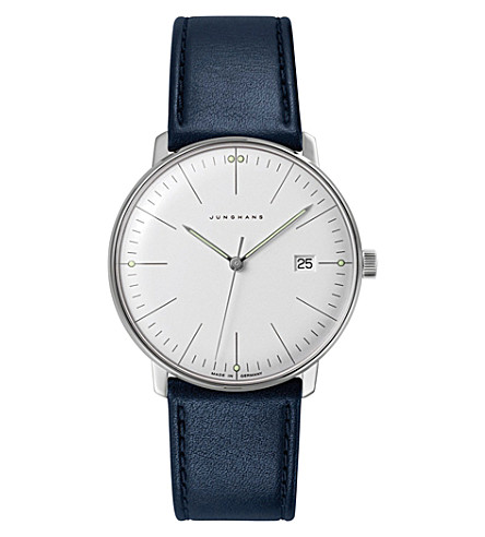 JUNGHANS 041/4464.00 Max Bill stainless steel and leather quartz watch (Silver
