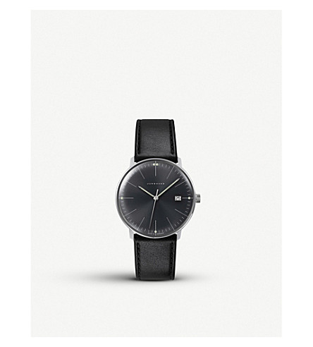 JUNGHANS 041/4465.00 Max Bill stainless steel and leather quartz watch (Black