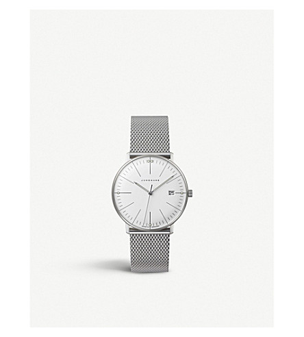 JUNGHANS 047/4250.44 Max Bill stainless steel quartz watch (White