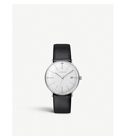 JUNGHANS 047/4251.00 Max Bill stainless steel and leather quartz watch (Silver
