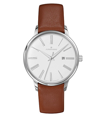 JUNGHANS 047/4566.00 Meister Damen stainless steel and leather watch (White