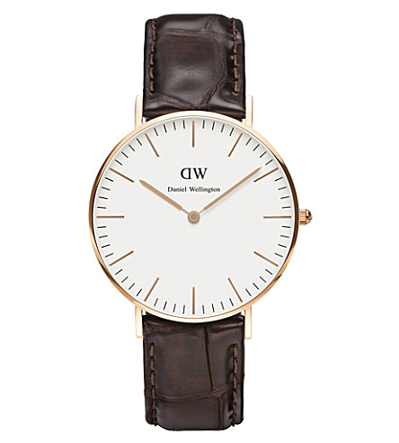 DANIEL WELLINGTON 0510DW York rose gold-plated and leather watch (Eggshell+white