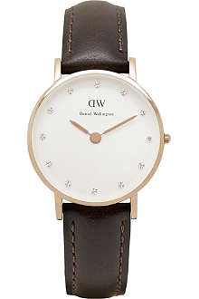 DANIEL WELLINGTON Classy rose gold leather strap watch