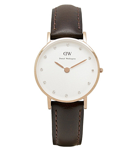 DANIEL WELLINGTON Classy rose gold leather strap watch (White