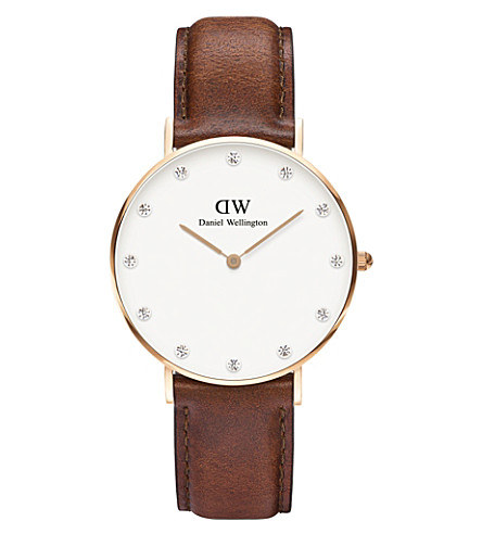 DANIEL WELLINGTON 0510DW St Mawes rose gold-plated and leather watch (White