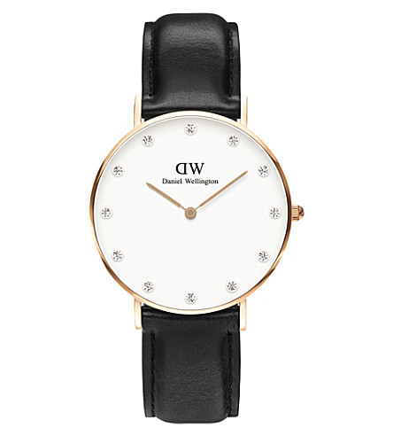 DANIEL WELLINGTON 0951dw stainless steel and leather watch