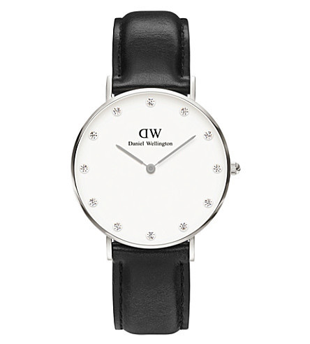 DANIEL WELLINGTON 0961DW St Mawes stainless steel and leather watch (White
