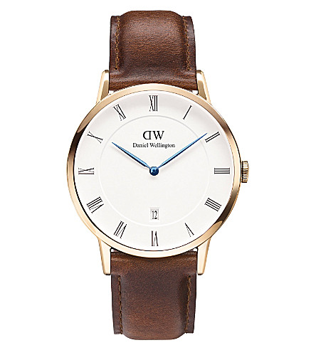 DANIEL WELLINGTON 1100DW Dapper St Mawes rose gold-plated and leather watch (White