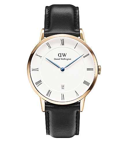 DANIEL WELLINGTON 1101DW Dapper Sheffield rose gold-plated and leather watch (White