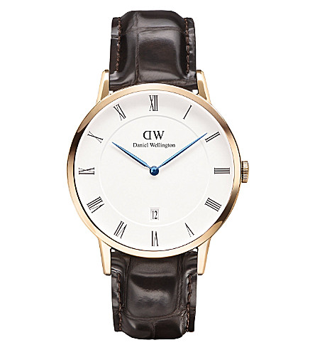DANIEL WELLINGTON 1102DW Dapper York rose gold-plated and leather watch (White