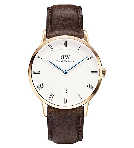 DANIEL WELLINGTON 1103DW Dapper Bristol rose gold-plated and leather watch (White