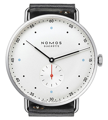 NOMOS GLASHUTTE Metro 38 manual white dial leather strap watch