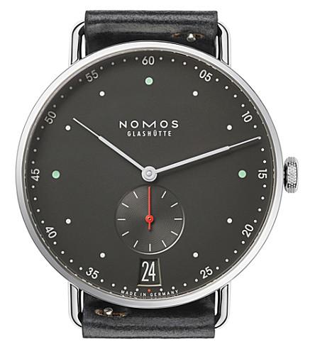 NOMOS GLASHUTTE Metro 38 Datum stadtschwarz stainless steel watch