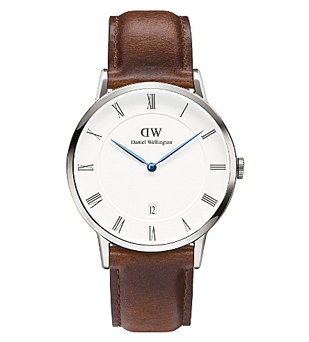 DANIEL WELLINGTON 1120DW Dapper St Mawes silver and leather watch (White