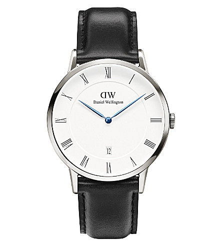 DANIEL WELLINGTON 1121DW Dapper Sheffiled silver and leather watch (White